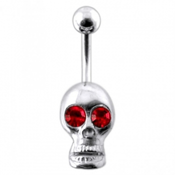 Buy Red Jeweled Silver Skull Dangling navel Body Jewelry Ring online