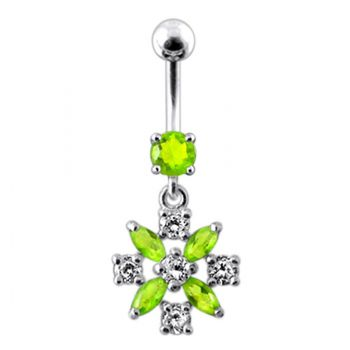 Buy Silver Flower Jeweled Dangling Navel Belly Ring online