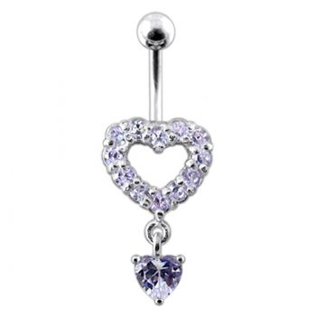 Buy Silver Multi Jeweled Heart Shape Dangling Belly Navel Ring online