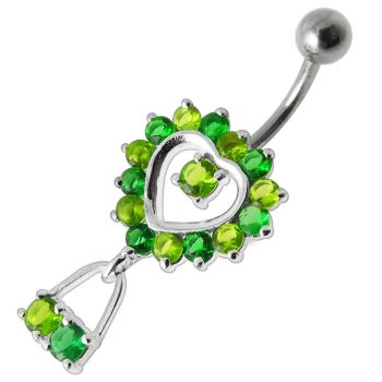 Buy Pink Jeweled Silver Dangling Belly Navel Ring online
