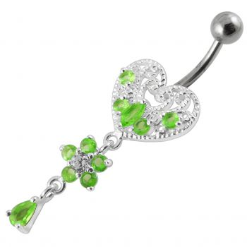 Buy Jeweled Heart Dangling Navel Belly Ring online