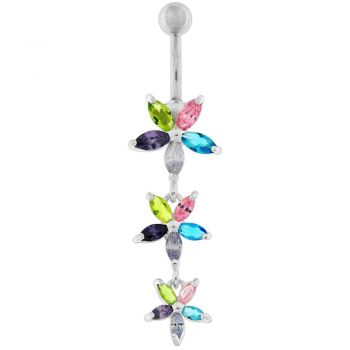 Buy Pink Jeweled 3 Dangling Flower SS Bar Navel Belly Ring online
