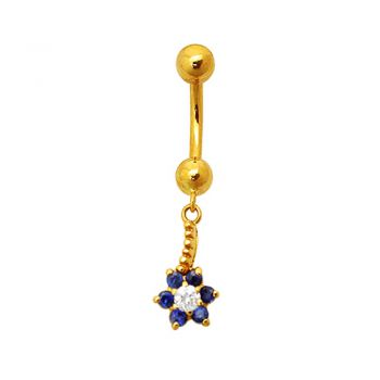 Buy CZ Jeweled Flower Dangling 18K Yellow Gold Navel Ring online