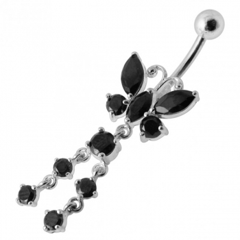 Buy Clear 14G Steel Butterfly Dangling bar Belly Button Navel ring online
