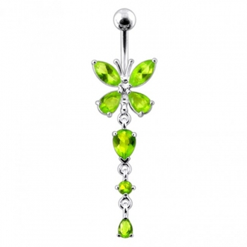 Buy Silver Butterfly Dangling Navel Belly Ring online