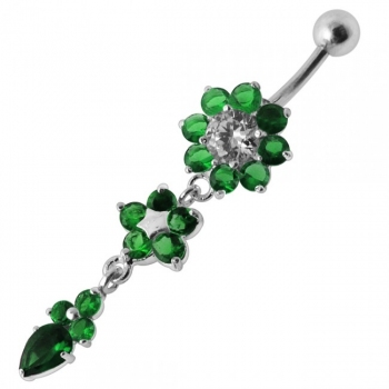Buy Double Pink Flower Silver Dangling SS Curved Bar Navel Belly Ring online