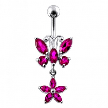 Buy Butterfly and Flower  Silver Dangling  Navel Ring PBM1129 online