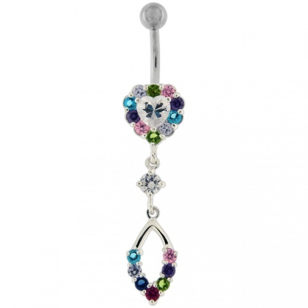 Buy Silver Jeweled Heart Dangling With Surgical Bar Banana Navel Ring online