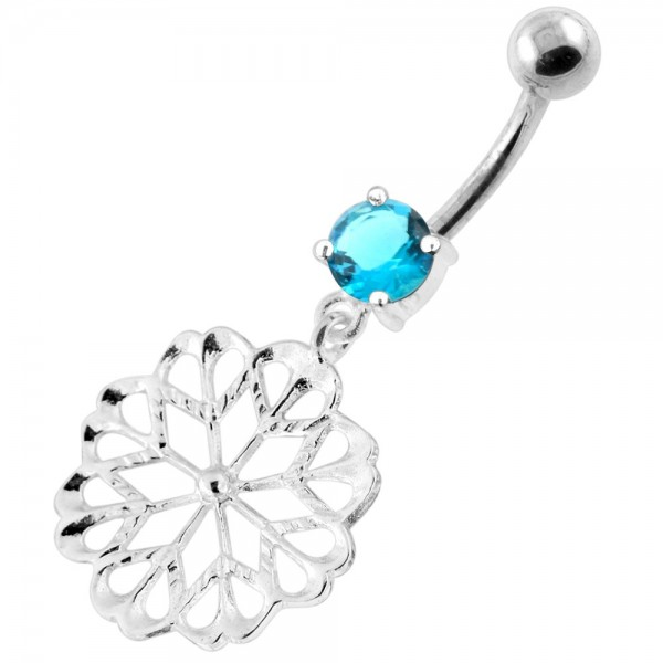 Buy 925 Sterling Silver center Jeweled Multi Point Star Cut out Belly Ring online