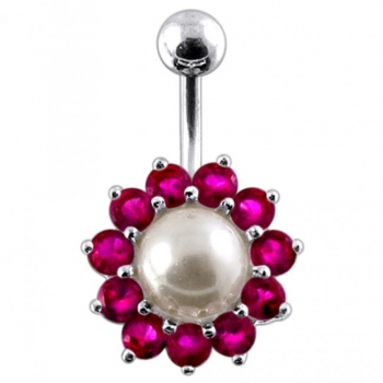 Buy 925 Sterling Silver Peral Studded Navel Ring PBN623 online
