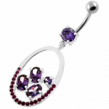 Buy 925 Sterling Silver Jeweled Oval Cut out Belly Ring online