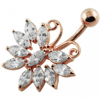 Buy Jeweled Butterfly Curved Bar Navel Body Jewelry online