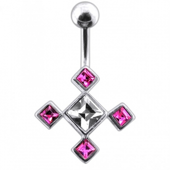 Buy Fancy Four Square Jeweled Banana Bar Navel Ring online