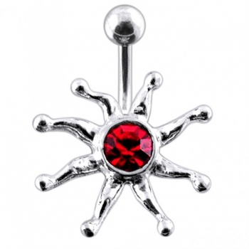 Buy Fancy Silver Star Fish Jeweled SS Bar Navel Ring PBN0376 online