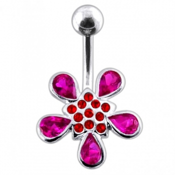 Buy Red Jeweled Silver Flower With 316L SS Bar Navel Ring body Jewelry PBN0283 online