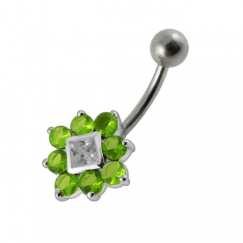 Buy Fancy Traditional Flower Jeweled SS Bar Navel Ring Body Jewelry online