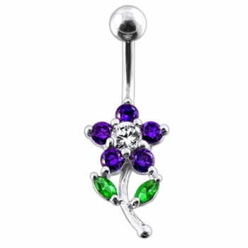 Buy Flower with leaves Navel Belly Bar online