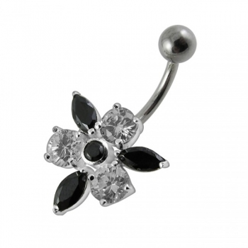 Buy Fancy Jeweled Flower With SS Curved Navel Ring PBN0104 online