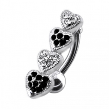 Buy Four Jeweled Hearts Design Navel Ring online
