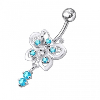 Buy Moving fancy Jeweled Butterfly Curved Navel Ring online