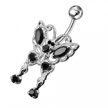 Buy 14G Jeweled Moving Butterfly Navel Ring online