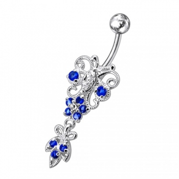 Buy Silver Jeweled Navel SS Belly Ring online