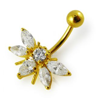 Buy 14G 10mm Yellow Gold Plated Sterling Silver Clear Jeweled Fancy Belly Navel Bar online
