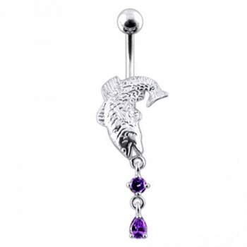 Buy Moving Jeweled Fish Navel Ring online