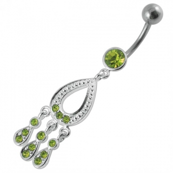 Buy 100mm Lenght Moving Jeweled Fancy SS Curved Bar Navel Ring online