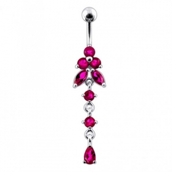 Buy Moving Jeweled Flower Design Navel Body Jewelry online
