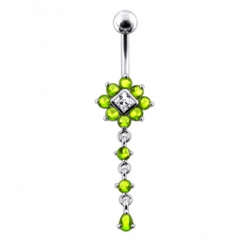 Buy Moving Multi Jeweled Flower Navel Curved Bar Ring online