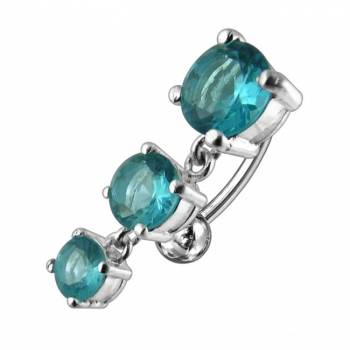 Buy Moving Jeweled Charms Curved Bar Navel Ring online