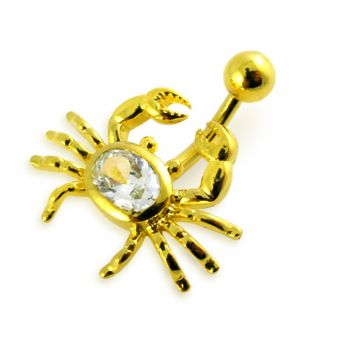 Buy 14G 10mm Yellow Gold Plated Sterlin Silver Clear Jewel Crab NonMoving Belly Bar online