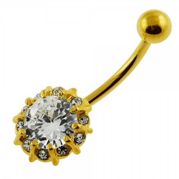 Buy 14G 10mm Yellow Gold Plated Silver Clear Jeweled Flower Single Stone Belly Bar online