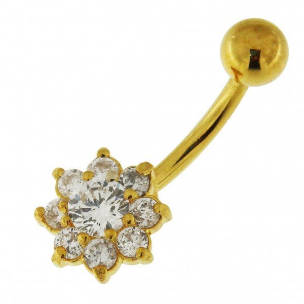 Buy 14G 10mm Yellow Gold Plated Silver Clear Jeweled Flower Non-Dangling Belly Bar online