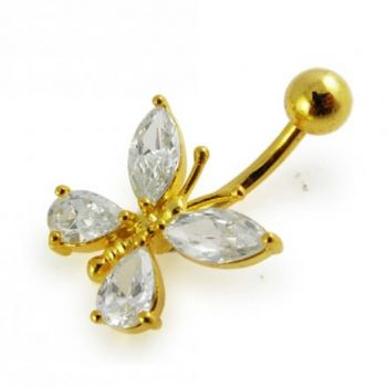 Buy 14G 10mm Yellow Gold Plated Silver Clear Jeweled Fancy Butterfly Belly Bar online