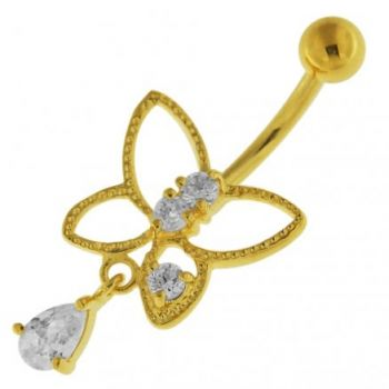 Buy 14G 10mm Yellow Gold Plated Silver Clear Jeweled Butterfly Cut Out Belly Bar online