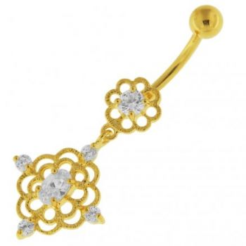 Buy 14G 10mm Yellow Gold Plated Sterling Silver Clear Jewel Flower CutOut Belly Bar online