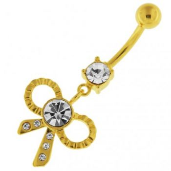 Buy 14G 10mm Yellow Gold Plated Sterling Silver Clear Jewel Fancy Bow Tie Belly Bar online