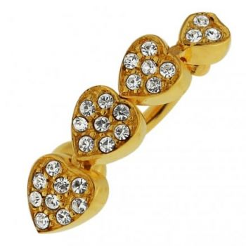 Buy 14G 10mm Yellow Gold Plated Silver Clear Jeweled 4 Hearts Reverse Belly Bar online