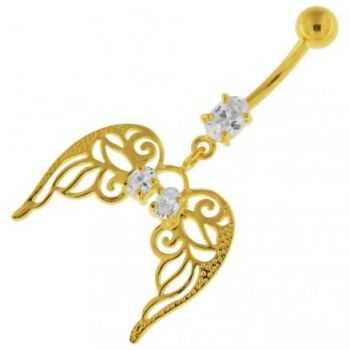 Buy 14G 10mm Yellow Gold Plated Silver Clear Jewel Angel Wings W/ Floral Belly Bar online