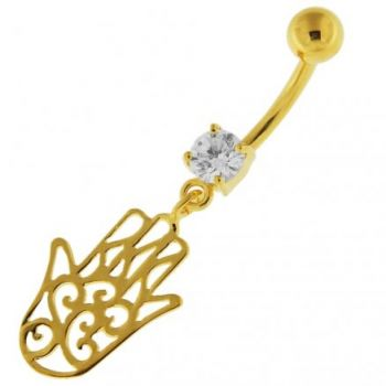 Buy 14G 10mm Yellow Gold Plated Sterling Silver Clear Jeweled Hamsa Hand Belly Bar online