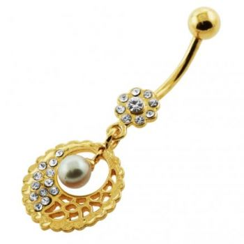 Buy 14G 10mm Yellow Gold Plated Sterling Silver Clear Jewel Hanging Pearl Belly Bar online