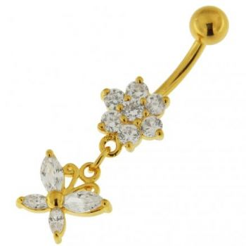 Buy 14G 10mm Yellow Gold Plated Silver Clear Jeweled Flower W/ Butterfly Belly Bar online