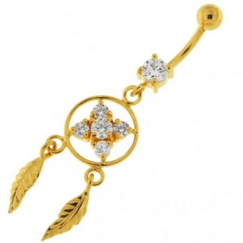 Buy 14G 10mm Yellow Gold Plated Silver Clear Jeweled Dream Catcher Flower Belly Bar online