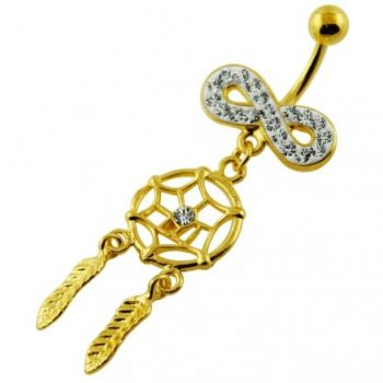 Buy 14G 10mm Yellow Gold Plated Silver Clear Jewel Infinity Dream Catcher Belly Bar online