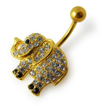 Buy 14G 10mm Yellow Gold Plated Silver Clear Jeweled Elephant Non-Moving Belly Bar online
