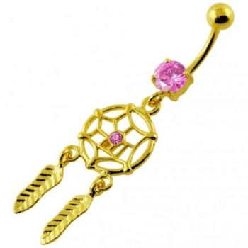 Buy 14G 10mm Yellow Gold Plated Sterling Silver Pink Jewel Dream Catcher Belly Bar online