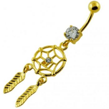 Buy 14G 10mm Yellow Gold Plated Sterling Silver Clear Jewel Dream Catcher Belly Bar online