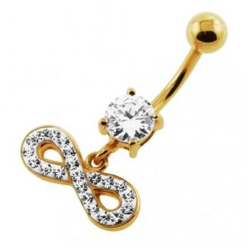 Buy 14G 10mm Yellow Gold Plated Sterling Silver Clear Jewel Infinity Sign Belly Bar online
